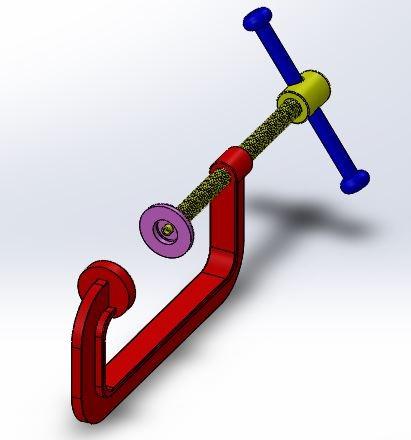 طراحی و مدلسازی گیره C با سالیدورک