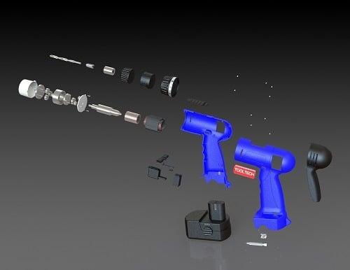 طراحی و مدلسازی دریل شارژی با سالیدورک
