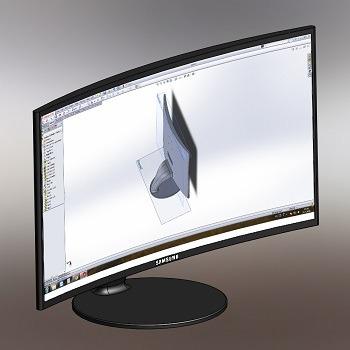 طراحی و مدلسازی مانیتور منحنی با سالیدورک
