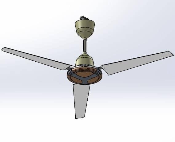 طراحی و مدلسازی پنکه سقفی با سالیدورک