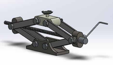 طراحی و مدلسازی جک پیچی دستی خودرو با سالیدورک
