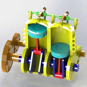 طراحی و مدلسازی موتور دو سیلندر با سالیدورک
