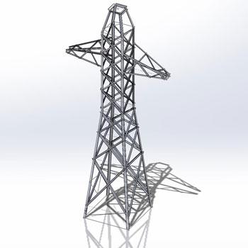 طراحی و مدلسازی دکل انتقال برق با سالیدورک